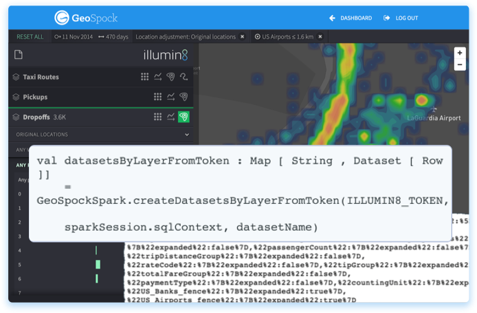 Take your exploration data and analyse using your Spark API token